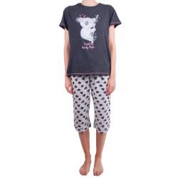 Dámské středně dlouhé pyžamo Molvy koala šedé