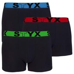 3PACK pánské boxerky Styx sportovní guma černé (G9646566)