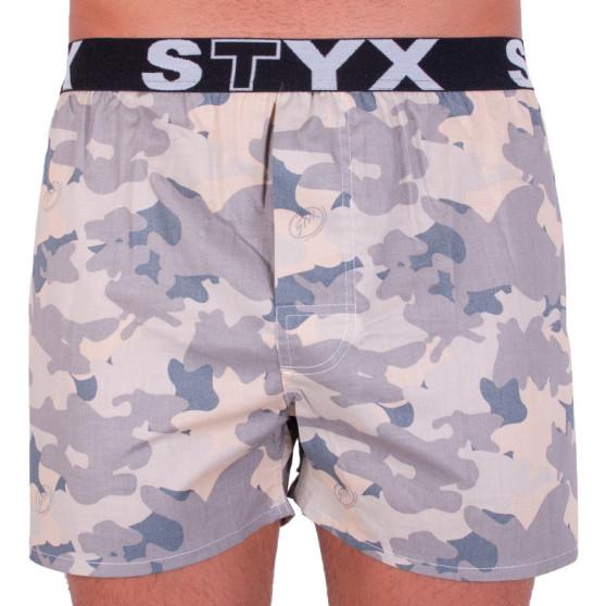 Pánské trenky Styx art sportovní guma béžový maskáč (B557)