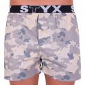 Pánske trenky Styx art športová guma béžový maskáč (B557)