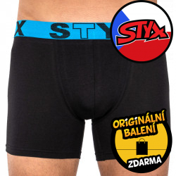 Pánské boxerky Styx long sportovní guma černé (U966)
