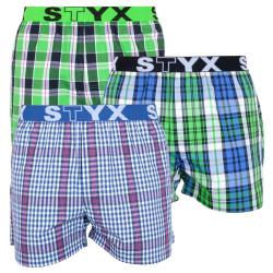 3PACK pánské trenky Styx sportovní guma vícebarevné (B7323839)