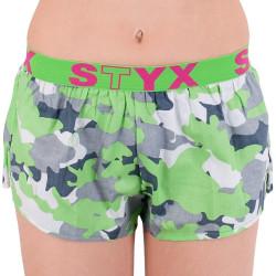 Dámské trenky Styx art sportovní guma zelený maskáč (T559)