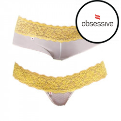 2PACK Dámské kalhotky/tanga Obsessive Lacea shorties duo pack