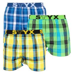 3PACK pánské trenky Styx sportovní guma vícebarevné (B8040510)