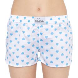 Dámské trenky ELKA bílé s modrými srdíčky (D0053)