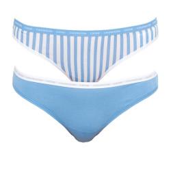 2PACK dámská tanga CK ONE modrá (QD3788E-9XK)