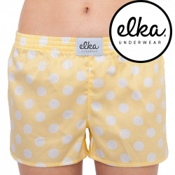 Dámské trenky ELKA žluté s bílými velkými puntíky (D0032)