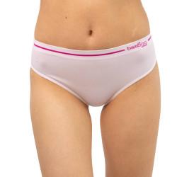 Dámské kalhotky Gina bambusové bílé s růžovým pruhem (00023)