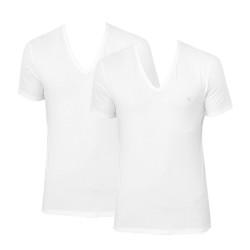2PACK pánské tričko CK ONE V neck bílé (NB2408A-100)